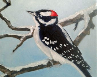 Downy Woodpecker Painting Smallest N. American Woodpecker Red Black White Bird Lovers Bird Painting Woodpecker Art Nature Art Karen Snider