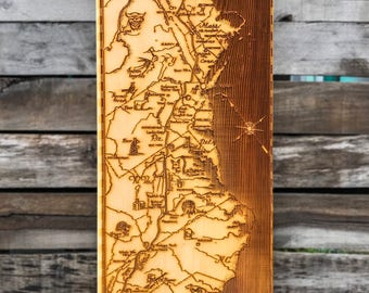 Appalachian Trail - Wood Burned Map