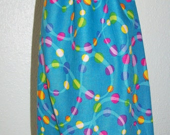 Dots and Swirls Wine Bottle Bag - Reversible - Drawstring - Reusable