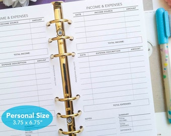 PRINTED Income Expenses insert - Finance tracker pages - PERSONAL size insert - Monthly financial tracker - P16