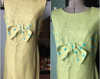 Vintage 1960s Womens Lime Green Linen Dress by Alison Ayres Small Medium Retro Pinup Mod Mad Men Style