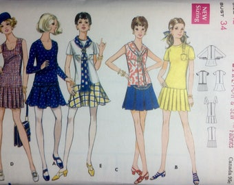 Vintage Sewing Pattern Misses Drop Waist Mini Dress and Scarf Size 12 UnCut 1970's P,dated or Flared Skirt
