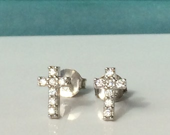 Cross Stud Earrings, in Solid Sterling Silver and Sparkling CZ • Waterproof • Post Back • Priced to Grab • Price is For a Pair • Cross Gift