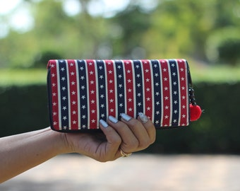Stars and Stripes Women's Wallet   Boho Chic Purse  Cute Wallet   Vegan Wallet   Boho Purse   iphone wallet  Printed Cotton Fabric wallet