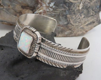 Sterling silver cuff bracelet, opal bracelet, signed L. James, Leonard James, marked sterling, heavy, vintage, 41.7 grams