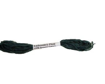 Embroidery Floss, 100% Organic Cotton, 8 Yards, Hand-Dyed, Evergreen