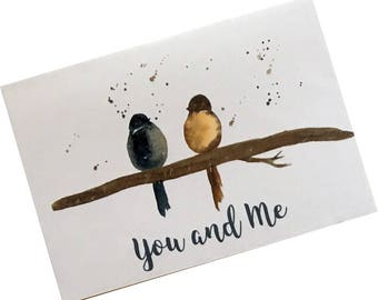 Romantic Bird Card, Love Card, Love Birds Card, Wedding Bird Card,  Engagement Bird Card, Anniversary Bird Card, You and Me Card, Birds Card