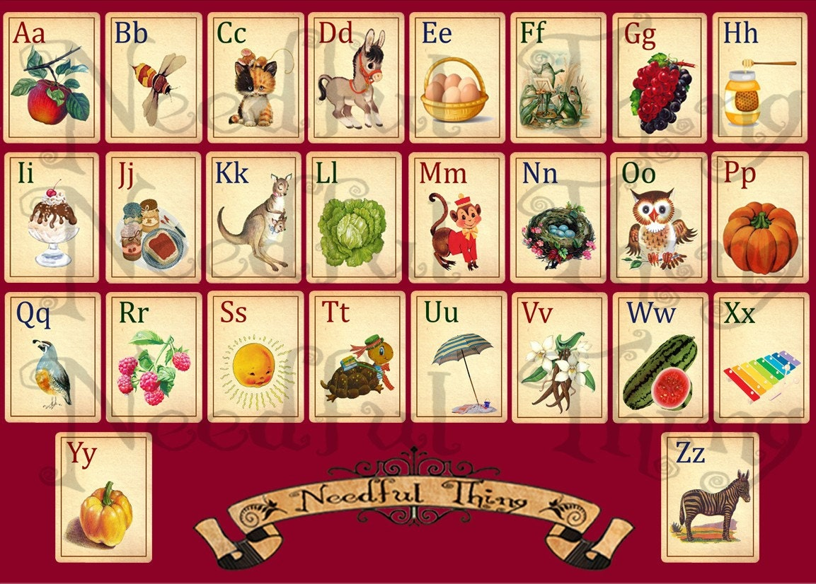 Vintage old paper alphabet abc cards child children school