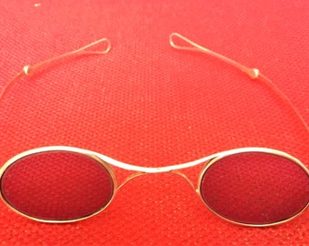 Antique French Solid Silver Early 19th Century Tinted Spectacles