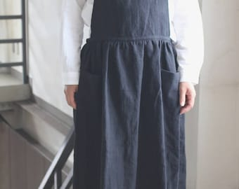 Front gather linen apron linen100% [MY BEST APRON]