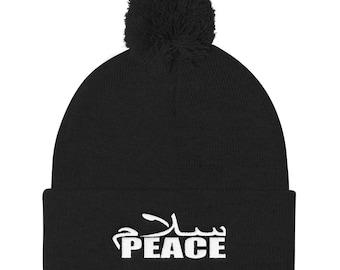Peace Pom Pom Knit Cap