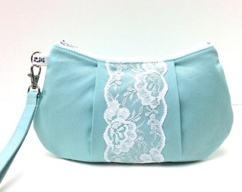 Bridesmaid Clutch Pleated Wristlet Purse - White Lace on Mint Blue Green