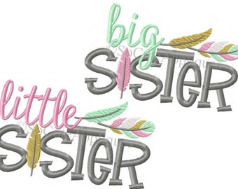 Personalized Big Little Brother Big Little Sister with Feathers Applique Shirt or Bodysuit Girl or Boy