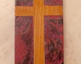 Cross Dog Tag Neckalce / Hand-carved Wood Necklace