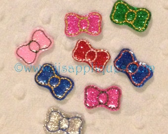 ITH Mini Bow Feltie Add On Designs- Embroidery Outline Design size Half Inch tall for 4x4 and 5x7 Hoop Sizes