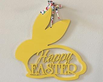 Happy Easter Bunny deur Hanger voorjaar decoratie muur opknoping Wall Decor Plaque