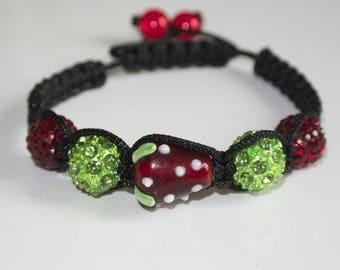 Bracelet shamballa Strawberry red and green beads