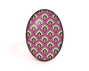 Cabochon ring • Art deco pattern • brass glass