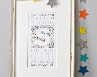 Christening Print Gift - Stars - Personalised Boy Christening Gift - Naming Day Print - Girls Baptism Present - Confirmation Keepsake Gift