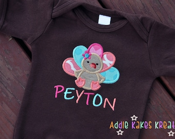 Personalized Cute Turkey Applique Baby Bodysuit