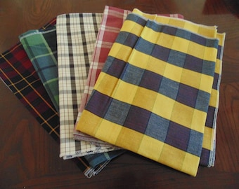 Lot of 5 designer sample fabrics, all plaids, great colors