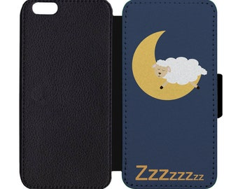 Sleepy Sheep Print Leather Flip Wallet Case Apple iPhone 5 5S SE 6 6S 7 7S 8 8S X Plus