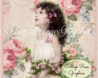 Pink Rose Dreams digital download Stinson Vintage wallpaper ephemera single image ECS buy 3 get one free