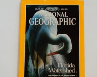 National Geographic Magazine July 1990 - Florida Watershed - Pacific Salmon - Coral Reefs of Florida - Emeralds - Vintage Magazine