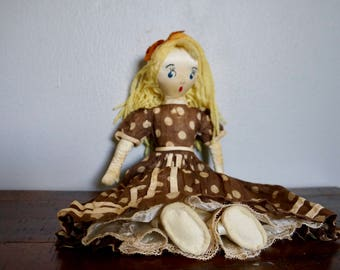 Antique Vintage Satin Rag Doll With Blonde Hair And Polka Dot Dress / Felt Shoes / Vintage Rag Dolls / Old Dollies / Toys / Elegant / Baby