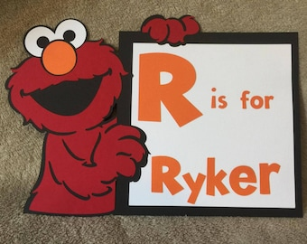 Personalized Sesame Street Elmo sign. You pick name. Great for Birthdays or baby showers or room decor.Free Shipping