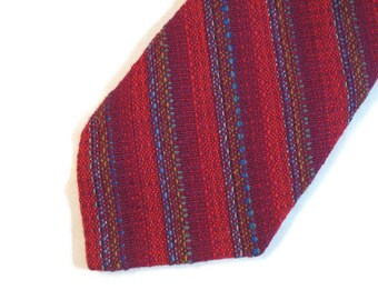 60s Handwoven Tie Red Striped Tie Wool Tie Wide Wool Tie 1960s Red Blue Tie Woven Wool Tie Red Wool Tie Made in Canada
