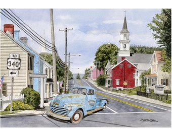 Runnin' Around Jefferson - Old Chevy Truck, Art Print, Watercolor Painting, Chevy wall art, Christmas gift ideas