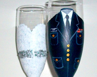 United States Coast Guard -  Bride and Groom  Hand Painted Champagne Flutes Set of 2 / 6 oz. Wedding Dress and Uniform