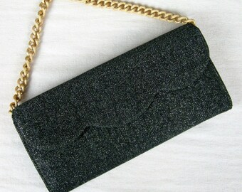 Vintage 1950s Clutch 50s Green and Black Metallic Lame Evening Bag with Chain