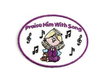 Praise Him With Song - Chorus - Singing - Song - Christian - Ministry - Embroidered Iron On Applique Patch