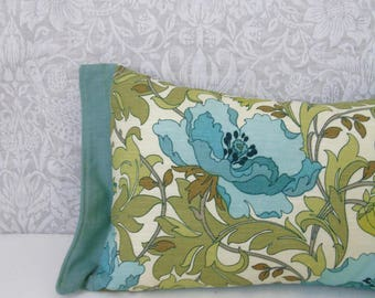 "Duck Egg blue teal Art Deco floral poppy 12"" x 18"" william morris inspired print with Sanderson Duck Egg Linen Backing Cushion pillow"