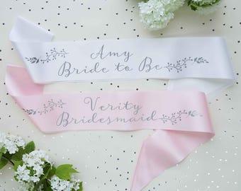 Bridal Sash - Hen Party Sash - Birthday Sash - Baby Shower  Sash - Botanical Print Sash