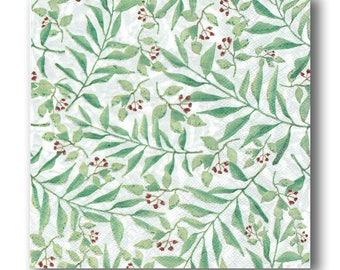 3 Decoupage Napkins Serviette, Craft Paper Napkins, Aquatic Branches, 33x33cm, 13Inch, Used for Collage, Scrapbooking, Mixed Media, Decoupag