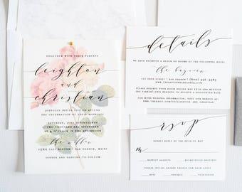 Wedding Invitation, Watercolor Floral, Calligraphy Script, Wedding Invite, Vellum: LEIGHTON.