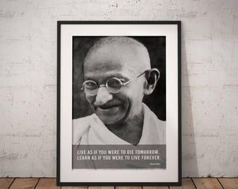 Gandhi, Quote poster, Typographic print, Inpirational Genius Quote, Sizes A4-A0