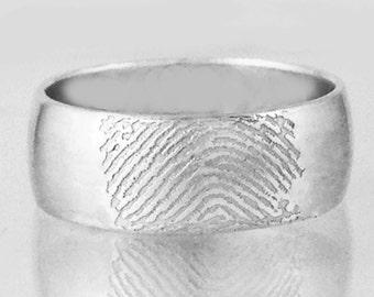 Fingerprint Ring Domed Band by donnaodesigns