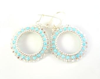 Small Dangly Hoop Earrings, Blue Beaded Earrings, Seed Bead Earrings, UK Seller