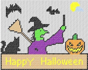 Halloween Plastic canvas Pattern Sign