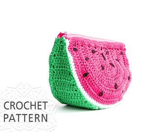 Crochet Pattern, Watermelon, Purse, Crochet Bag Pattern, Fruit Pouch, Handbags, Fruit Makeup bag, Download PDF