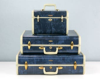 One Vintage Medium Blue Marble Samsonite Suitcase with RARE Tartan Plaid Interior, Blue Suitcase, Suitcase Photo Prop, Stage and Film Props