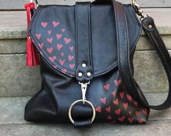 MESSENGER BAG - red leather bag - large messenger - customizable crossbody bag - large tote bag - large leather handbag - purse made in usa
