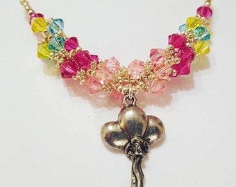 "MLP My Little Pony Inspired Swarovski Crystal Necklace Beadweaving Sterling Silver -  ""Pinkie Pie"""