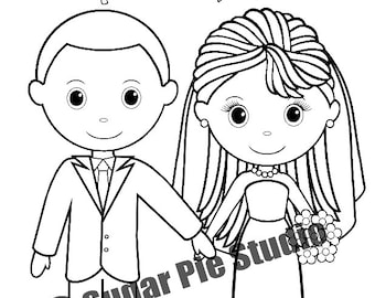 Printable Personalized Wedding coloring activity book Favor