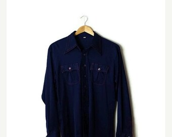 ON SALE Vintage Plain Navy Retro Disco shirt/Polyester Shirt  from 1970's*