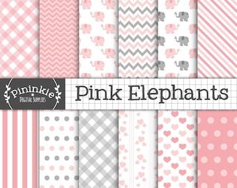 Pink Elephant papier numérique, fille bébé douche papier Scrapbook, nouveau bébé fille éléphant peint, papier numérique rose et gris